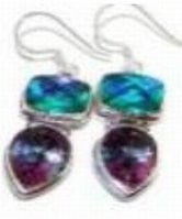 100322: Blue & Mystic Topaz Sterling Earrings