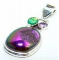 100012: Coated Drusy, Opal & Amethyst Sterling Pendant