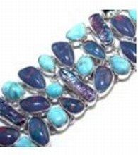 200001: Larimar, Biwa Pearl & Fire Opal Sterling Bracel