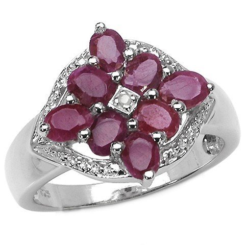 300005: 1.60 Carat Genuine Ruby & White Diamond .925 St