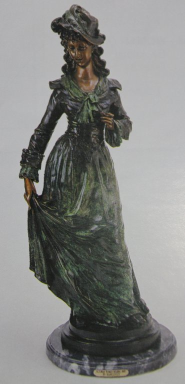 "300013: ""VICTORIAN WOMAN HOLDING SKIRT"" BRONZE SCULPTUR"