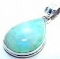 300012: Green Moonstone Sterling Pendant