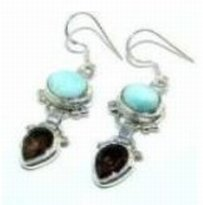 300022: Larimar & Smokey Quartz Sterling Earrings