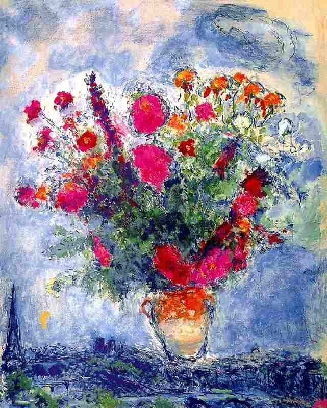 """100041: MARC CHAGALL """"BOUQUET OVER THE CITY"""""""