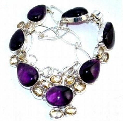 200034: Amethyst Cabochon & Citrine Sterling Necklace