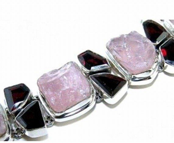 300019: Rose Quartz & Garnet Sterling Bracelet