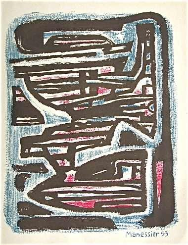 400024: ALFRED MANESSIER ORIGINAL LITHOGRAPH, 1954