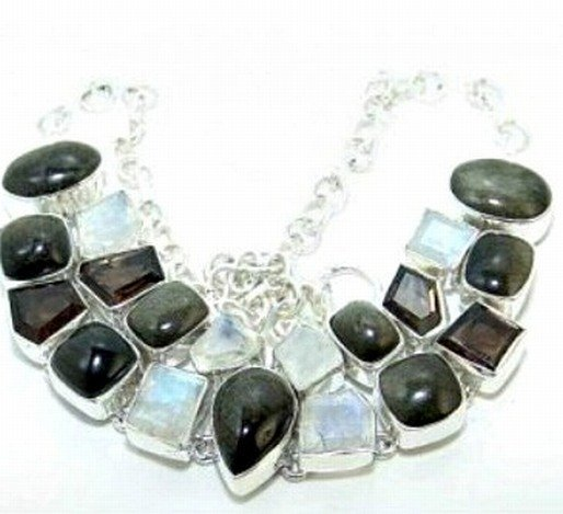 400036: Onyx & Rainbow Moonstone Sterling Necklace