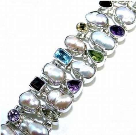 500019: Blister Pearl & Mixed Stones Sterling Bracelet