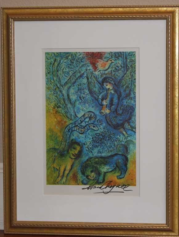 900479: MARC CHAGALL HAND SIGNED LITHOGRAPH IN COLORS