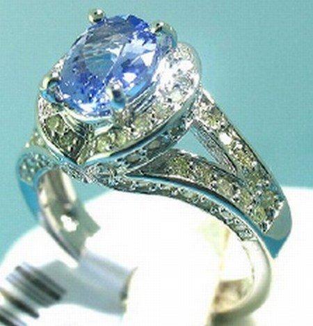 1000024: 14K GOLD DIAMOND & TANZANITE  RING