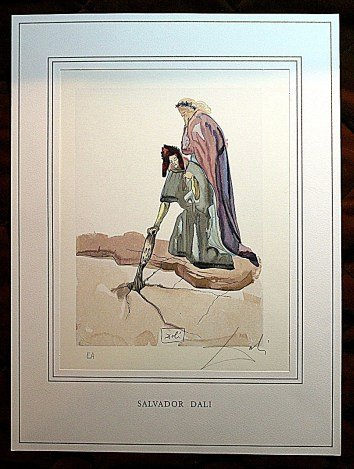 100000: DALI HAND SIGNED ORIG. COLORED WOOD ENGRAVING -