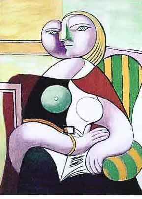 """200016: PICASSO """"LADY IN STRIPED GREEN CHAIR"""""""