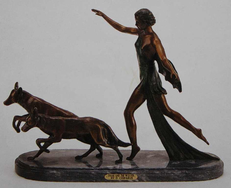 """200018: """"DIANE AND THE WOLVES"""" BRONZE SCULPTURE - CHIPA"""