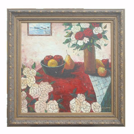 """400032: """" TABLE OF FLOWERS"""" - ORIGINAL OIL ON CANVAS"""