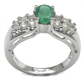 500011: 1.69 CARAT GENUINE EMERALD & WHITE TOPAZ .925 S