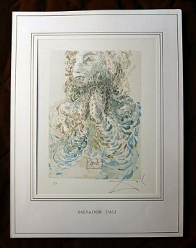 500017: DALI HAND SIGNED ORIG. COLORED WOOD ENGRAVING -