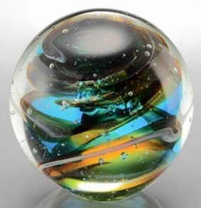 500041: ART GLASS SPHERE / PAPERWEIGHT