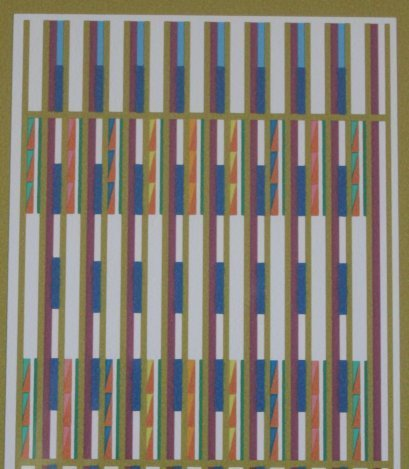 """500199: AGAM HAND SIGNED """"BLUE VERTICAL ORCHESTRATION""""  - 3"""