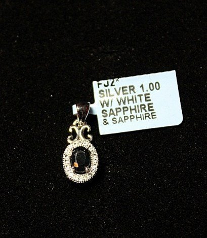 500010: STERLING PENDENT W/WHITE & BLUE SAPPHIRE