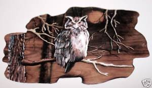 """600048: """"OWL"""" HAND CARVED WALL HANGING"""