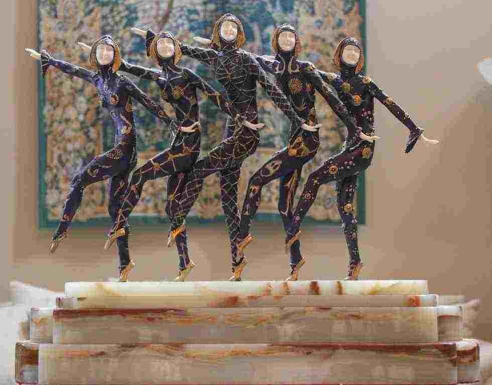 """600438: CHIPARUS - """"CHORUS LINE"""" -BRONZE AND IVORY SCUL"""