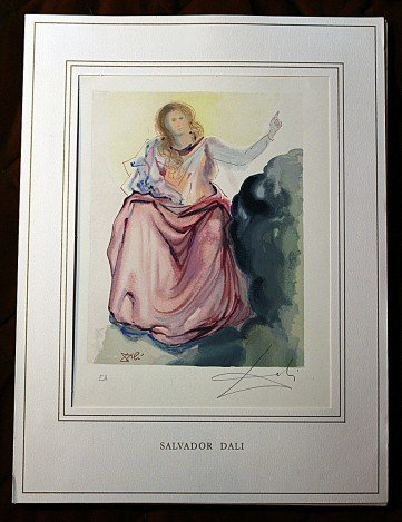 700017: DALI HAND SIGNED ORIG. COLORED WOOD ENGRAVING -