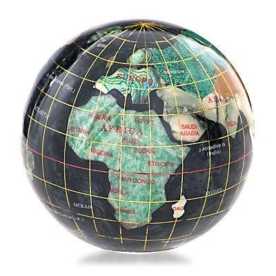 800010: KALIFANO GEMSTONE GLOBE PAPERWEIGHT