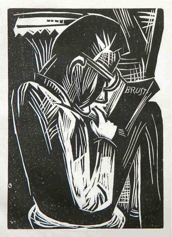 "800012: KARL SCHMIDT-ROTTLUFF ORIGINAL WOODCUT ""LESENDE"