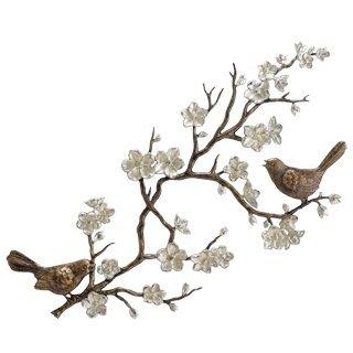 800034: BIRDS & CHERRY BLOSSOM WALL SCULPTURE
