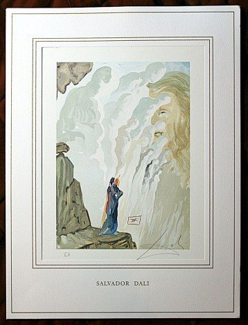 110027: DALI HAND SIGNED ORIG. COLORED WOOD ENGRAVING -