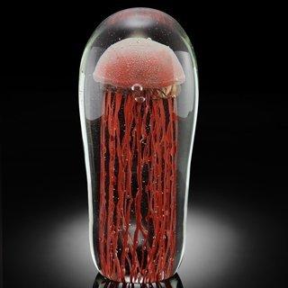 111509: ART GLASS ORANGE JELLYFISH GLOW IN THE DARK