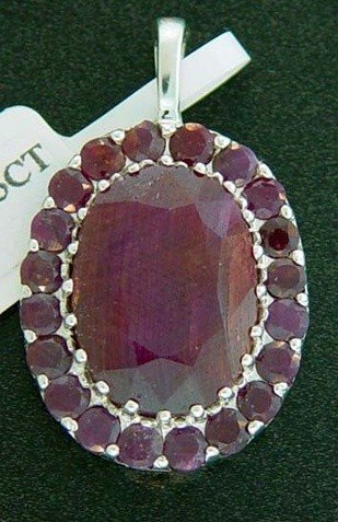 13.5 CTW. GENUINE RUBY PENDANT IN STERLING SILVER