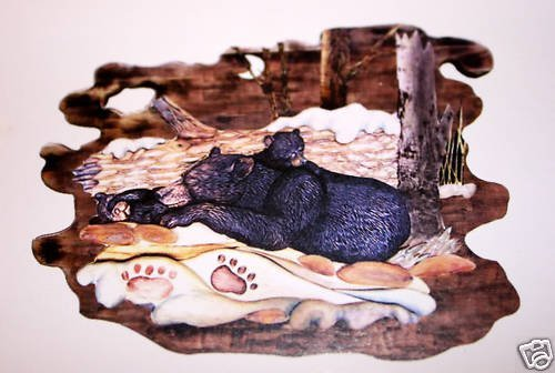 """THE SLEEPING BEARS""  HAND CARVED WALL HANGING"