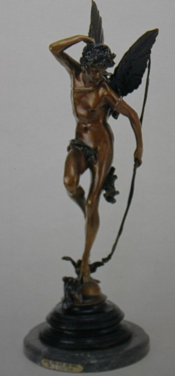 """""""ANGEL WITH BOW & WINGS"""" BRONZE SCULPTURE - J. COUTAN"""