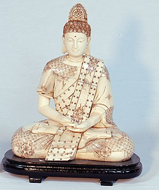 """HAND CARVED BUDDHA - VERY ORNATE"