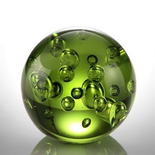 "ART GLASS GREEN BUBBLE SPHERE 3.5"" DIA"