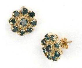 1.50 CTW. BLUE DIAMOND EARRINGS IN 14KY GOLD SETTING