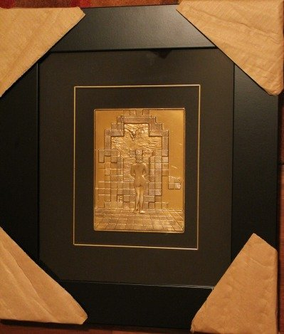 """DALI """"GALA"""" BAS RELIEF 18k OVER STERLING"""