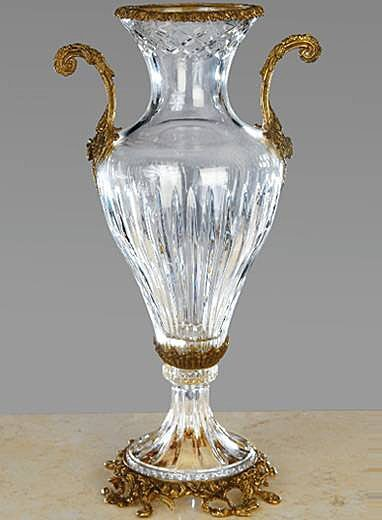 ITALIAN CRYSTAL VASE WITH BRASS HANDLES AND ACCENTS