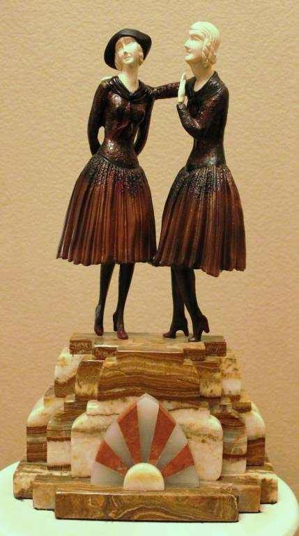 """CHIPARUS - """"THE SECRET"""" -BRONZE AND IVORY SCULPTURE"""