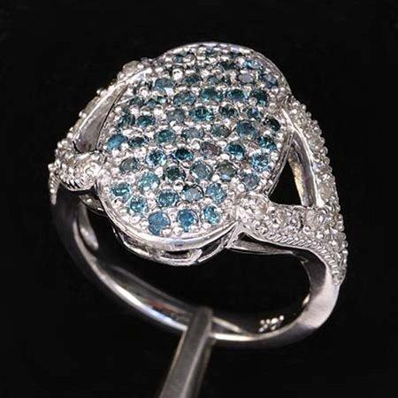 1.10 CTW BLUE DIAMOND RING IN 10KW