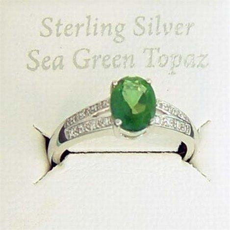 SEA GREEN & WHITE TOPAZ STERLING RING