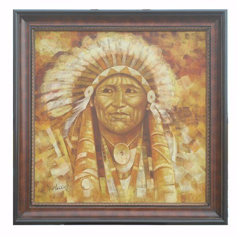"""""""INDIAN CHIEF"""" - ORIGINAL OIL ON CANVAS"""