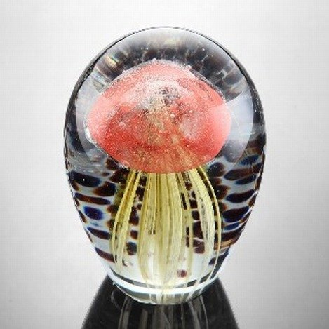 ART GLASS RED & GOLD JELLYFISH GLOW IN THE DARK