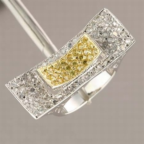CANARY YELLOW & WHITE CZ STERLING RING
