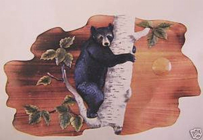 """BEAR CUB"" HAND CARVED WALL HANGING"