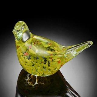 HAND CRAFTED YELLOW ART GLASS BIRD