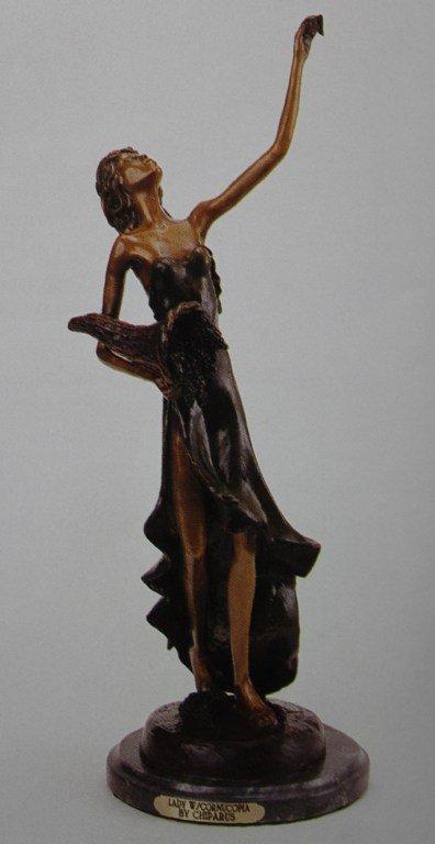 LADY WITH CORNUCOPIA BRONZE SCULPTURE - CHIPARUS