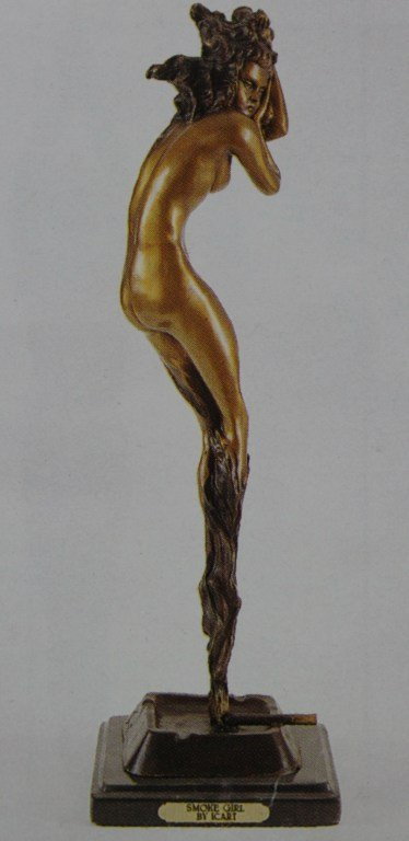 """SMOKE GIRL"" BRONZE SCULPTURE INSPIRED - ICART"